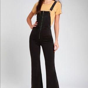 Amuse society zipper wide leg stretch overalls